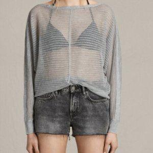 All Saints Silver Grey Levita Knit Dolman Sweater